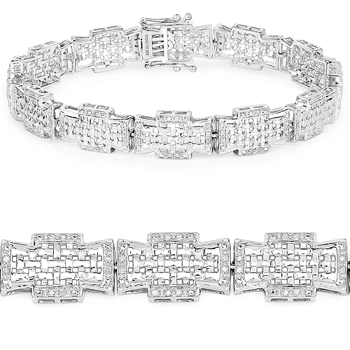Bracelets-0.48 Carat Genuine White Diamond .925 Sterling Silver Bracelet