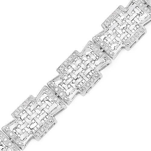 0.48 Carat Genuine White Diamond .925 Sterling Silver Bracelet