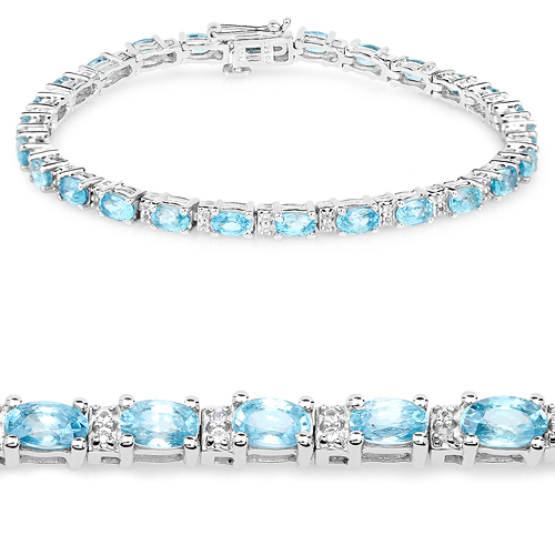 Bracelets-8.84 Carat Genuine Blue Zircon and Topaz White .925 Sterling Silver Bracelet