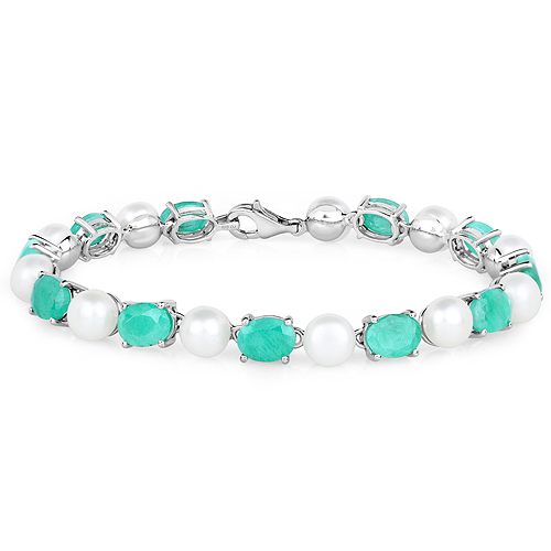 Bracelets-33.00 Carat Genuine Emerald and Pearl .925 Sterling Silver Bracelet