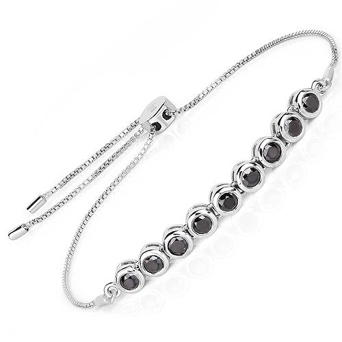 1.58 Carat Genuine Black Diamond .925 Sterling Silver Bracelet