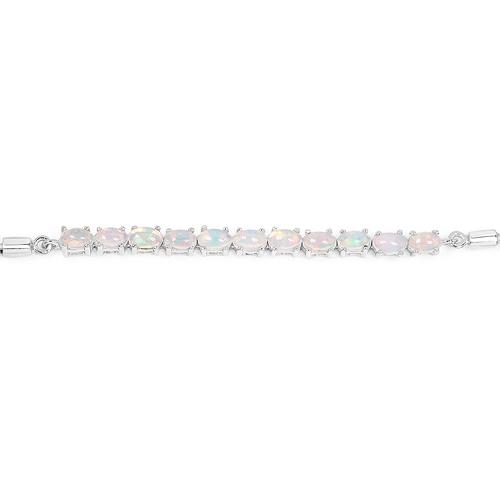 1.65 Carat Genuine Ethiopian Opal Sterling Silver Bracelet