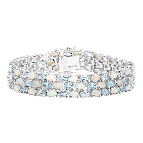Bracelets-22.28 Carat Genuine Opal and Blue Topaz .925 Sterling Silver Bracelet