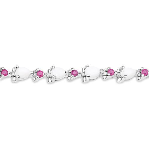 3.63 Carat Genuine Opal and Ruby .925 Sterling Silver Bracelet