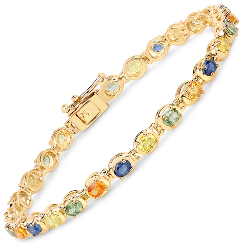 Bracelets-14K Yellow Gold Plated 5.40 Carat Genuine Multi Sapphire .925 Sterling Silver Bracelet