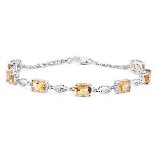 6.21 Carat Genuine Citrine and White Topaz .925 Sterling Silver Bracelet