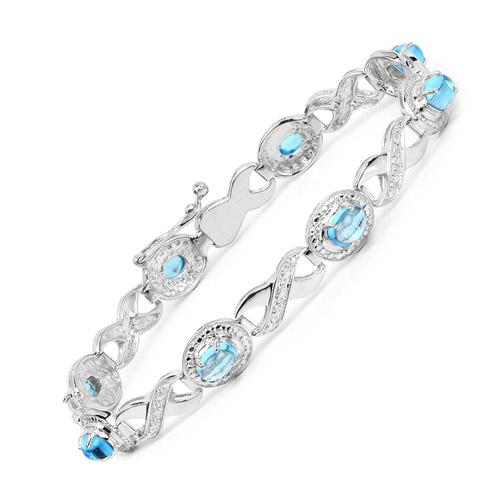 5.60 Carat Genuine Swiss Blue Topaz .925 Sterling Silver Bracelet