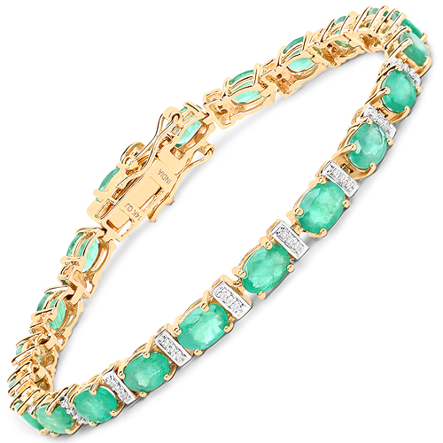 Bracelets-9.43 Carat Genuine Zambian Emerald and White Diamond 14K Yellow Gold Bracelet
