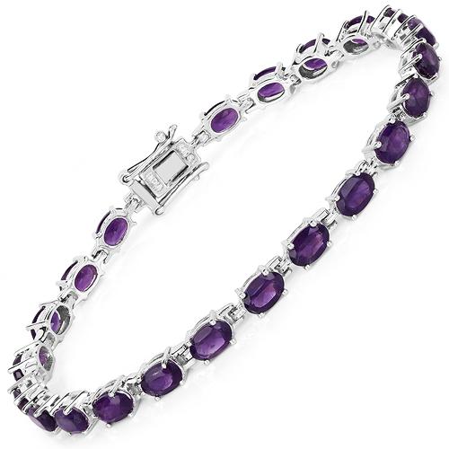 9.46 Carat Genuine Amethyst .925 Sterling Silver Bracelet