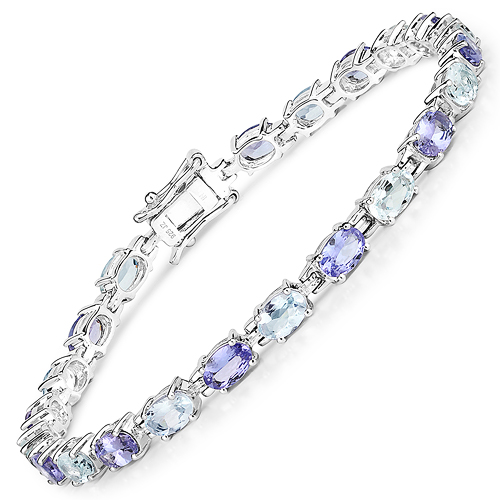 Bracelets-9.24 Carat Genuine Aquamarine and Tanzanite .925 Sterling Silver Bracelet