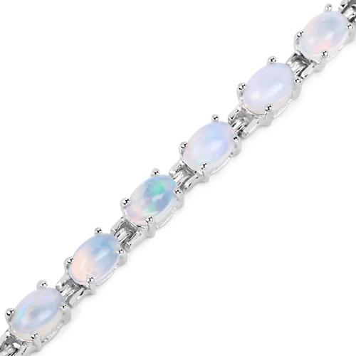 5.94 Carat Genuine Ethiopian Opal .925 Sterling Silver Bracelet