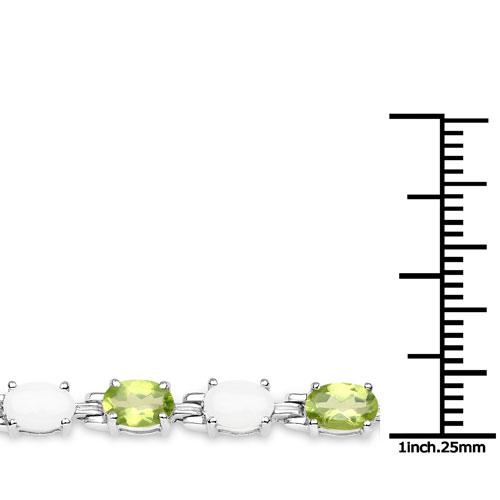 8.14 Carat Genuine Peridot and Opal .925 Sterling Silver Bracelet