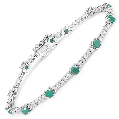 Bracelets-5.69 Carat Genuine Emerald and White Zircon .925 Sterling Silver Bracelet