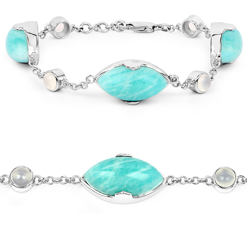 Bracelets-29.70 Carat Genuine Amazonite and White Agate .925 Sterling Silver Bracelet