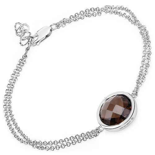8.10 Carat Genuine Smoky Quartz .925 Sterling Silver Bracelet