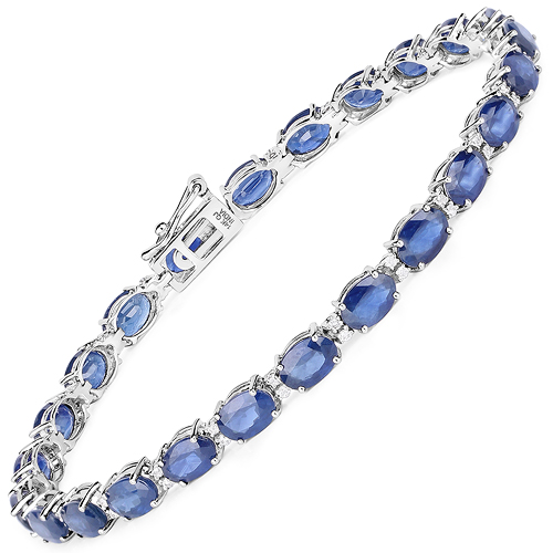 Bracelets-13.50 Carat Genuine Blue Sapphire and White Diamond 14K White Gold Bracelet