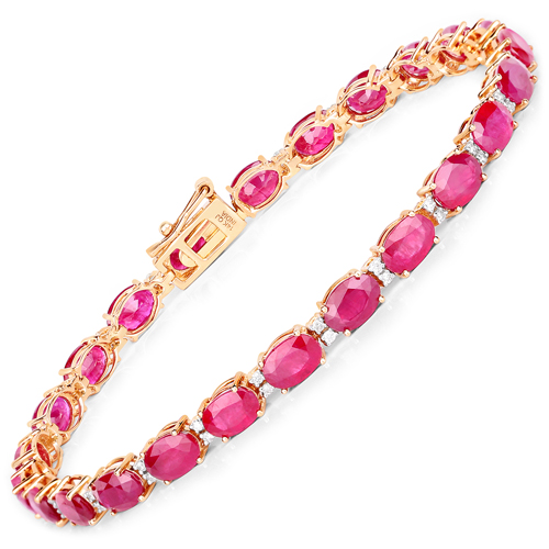 Bracelets-13.50 Carat Genuine Ruby and White Diamond 14K Yellow Gold Bracelet