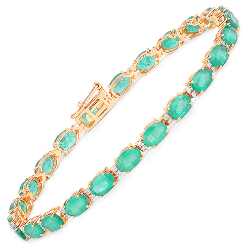 Bracelets-10.86 Carat Genuine Zambian Emerald and White Diamond 14K Yellow Gold Bracelet