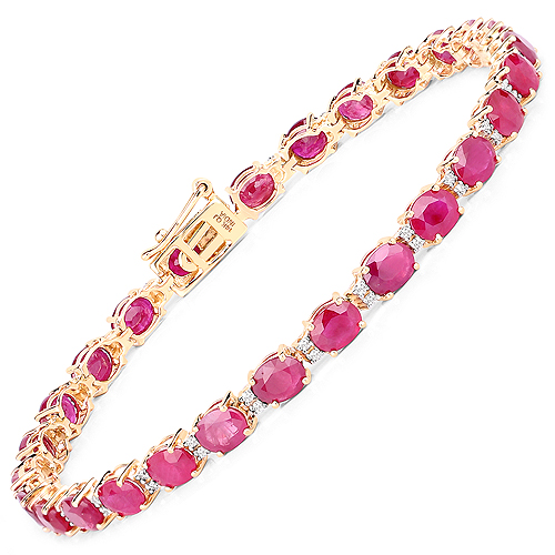 Bracelets-12.43 Carat Genuine Ruby and White Diamond 14K Yellow Gold Bracelet