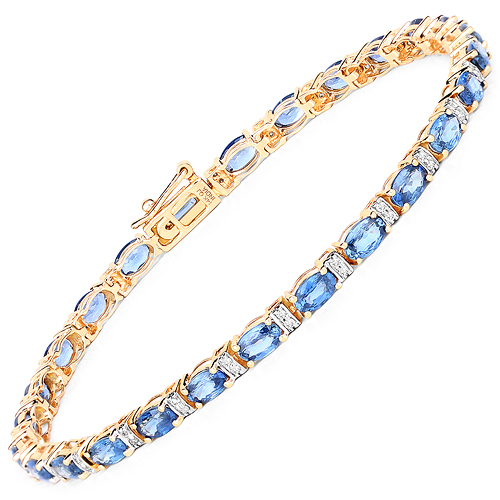 Bracelets-7.76 Carat Genuine Blue Sapphire and White Diamond 14K Yellow Gold Bracelet