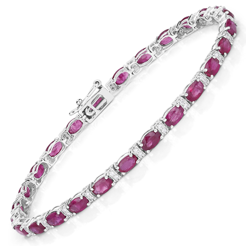 Bracelets-7.29 Carat Genuine Ruby and White Diamond 14K White Gold Bracelet