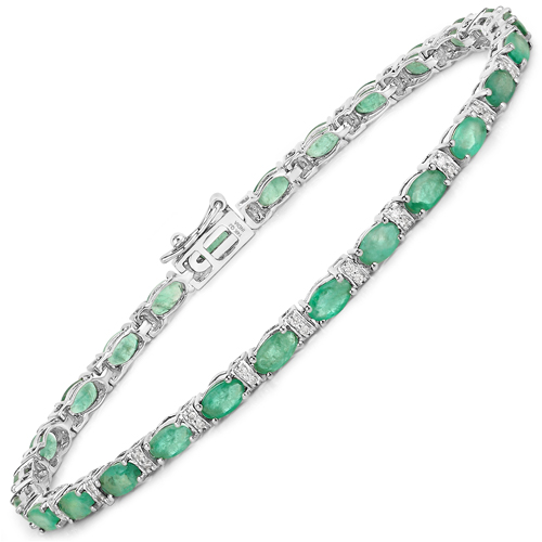 Bracelets-5.21 Carat Genuine Zambian Emerald and White Diamond 14K White Gold Bracelet