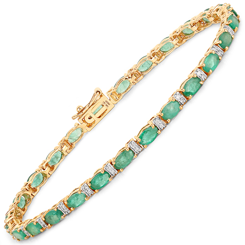 Bracelets-5.21 Carat Genuine Zambian Emerald and White Diamond 14K Yellow Gold Bracelet