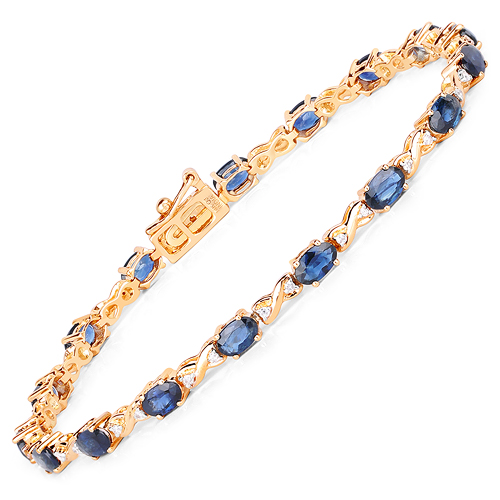 Bracelets-5.31 Carat Genuine Blue Sapphire and White Diamond 14K Yellow Gold Bracelet