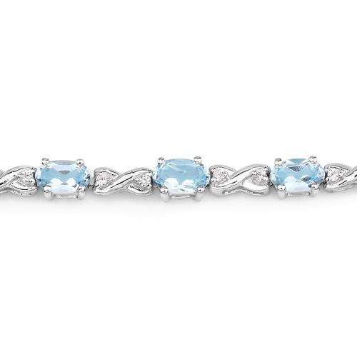 4.49 Carat Genuine Blue Topaz and White Zircon .925 Sterling Silver Bracelet