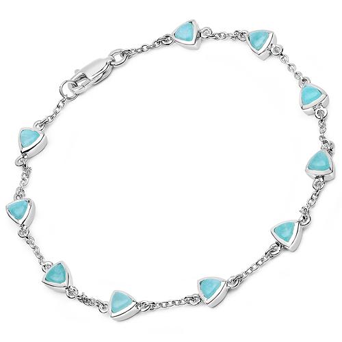 2.70 Carat Genuine Amazonite .925 Sterling Silver Bracelet