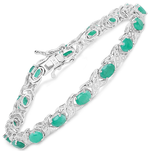 Bracelets-7.17 Carat Genuine Emerald and White Diamond .925 Sterling Silver Bracelet