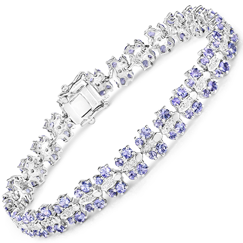 Bracelets-7.02 Carat Genuine Tanzanite and White Sapphire .925 Sterling Silver Bracelet