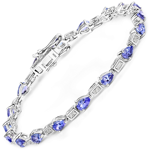 Bracelets-14K White Gold 3.89 Carat Genuine Tanzanite and White Diamond Bracelet