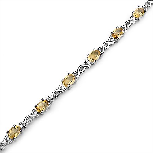 5.40 Carat Genuine Citrine .925 Sterling Silver Bracelet