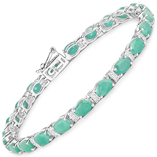 Bracelets-10.01 Carat Genuine Emerald and White Topaz .925 Sterling Silver Bracelet