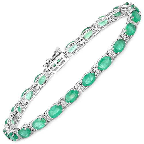 Bracelets-9.94 Carat Genuine Zambian Emerald and White Diamond 14K White Gold Bracelet
