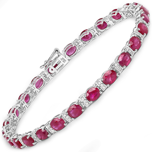 Bracelets-11.55 Carat Genuine Ruby and White Diamond 14K White Gold Bracelet