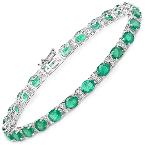 Bracelets-7.80 Carat Genuine Zambian Emerald and White Diamond 14K White Gold Bracelet