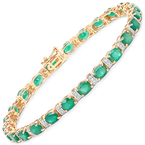 Bracelets-8.55 Carat Genuine Zambian Emerald and White Diamond 14K Yellow Gold Bracelet