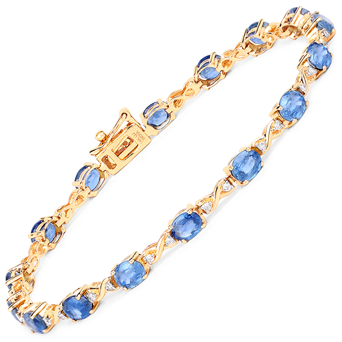 Bracelets-7.81 Carat Genuine Blue Sapphire and White Diamond 14K Yellow Gold Bracelet