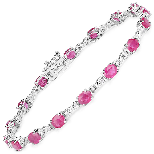 Bracelets-7.49 Carat Genuine Ruby and White Diamond 14K White Gold Bracelet