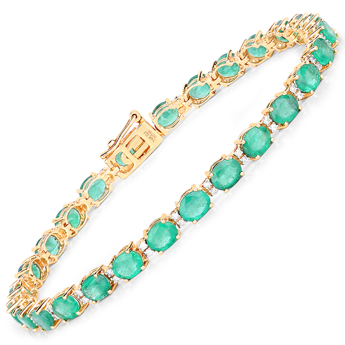 Bracelets-9.19 Carat Genuine Zambian Emerald and White Diamond 14K Yellow Gold Bracelet