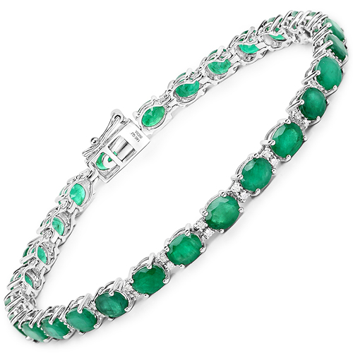 Bracelets-9.19 Carat Genuine Zambian Emerald and White Diamond 14K White Gold Bracelet