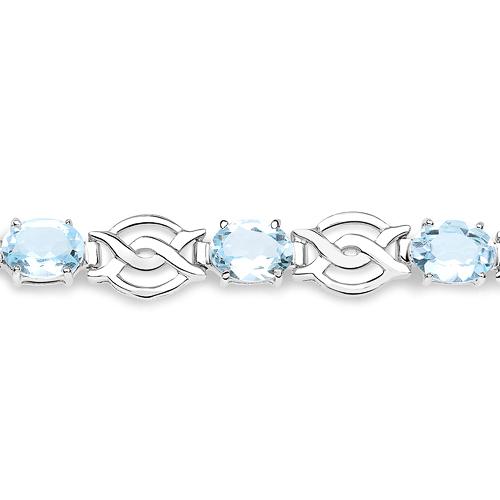 14.40 Carat Genuine Blue Topaz .925 Sterling Silver Bracelet