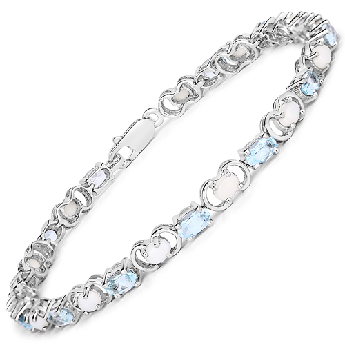 4.81 Carat Genuine Blue Topaz and Opal .925 Sterling Silver Bracelet