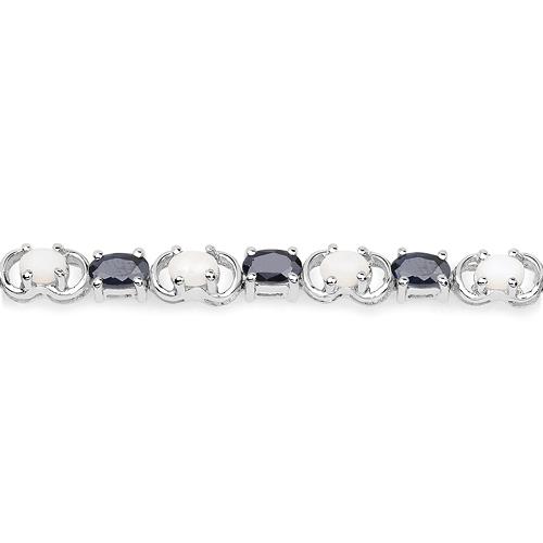 6.11 Carat Genuine Opal and Black Sapphire .925 Sterling Silver Bracelet