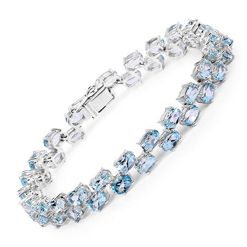 23.46 Carat Genuine Blue Topaz .925 Sterling Silver Bracelet