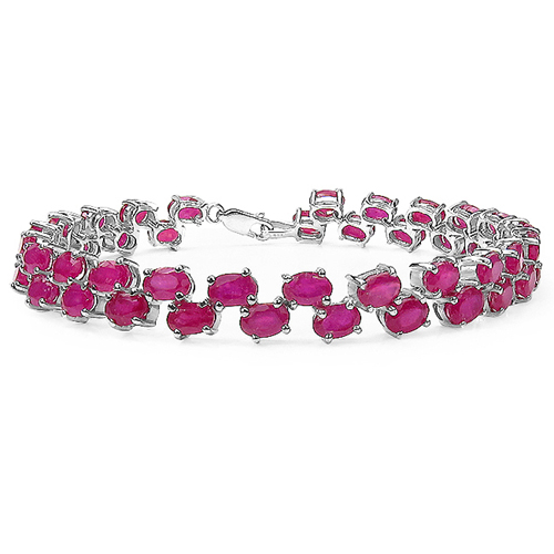 Bracelets-25.30 Carat Genuine Glass Filled Ruby .925 Sterling Silver Bracelet