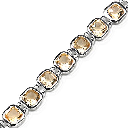 16.56 Carat Genuine Citrine .925 Sterling Silver Bracelet