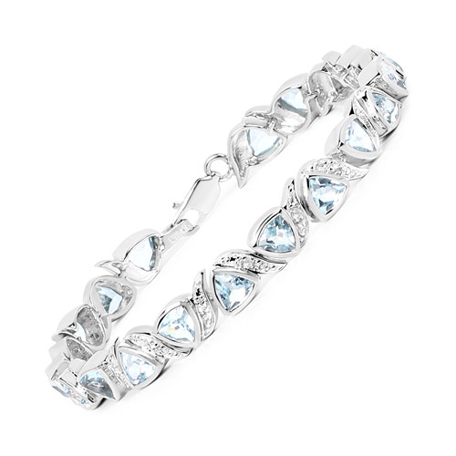 10.03 Carat Genuine Blue Topaz and White Topaz .925 Sterling Silver Bracelet
